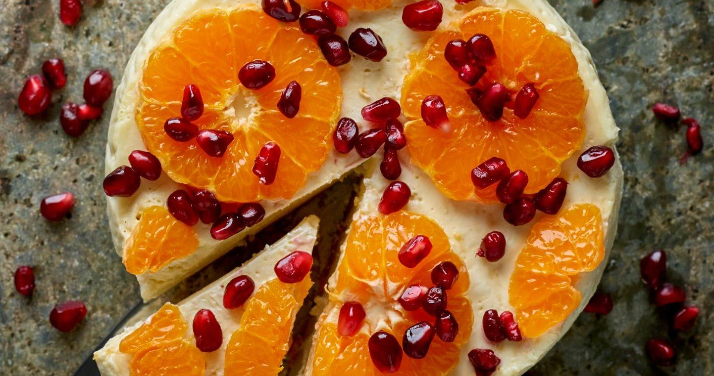Slow Cooker Clementine & Pomegranate Cheesecake