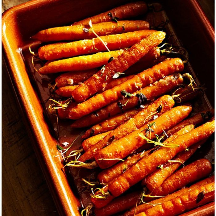 honey roasted carrots with garlic and thyme